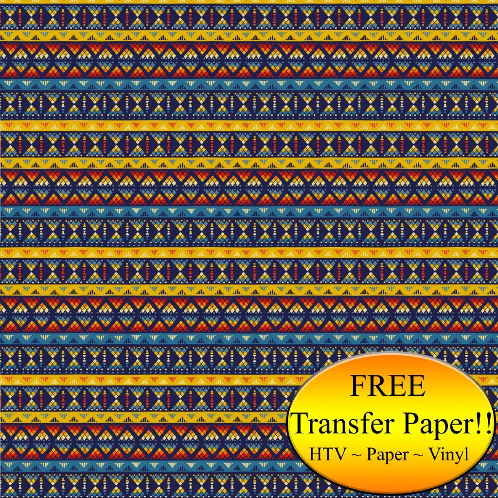 Yellow & Blue Tribal Pattern Printed Heat Transfer Vinyl (Style D - 12 x 24) by American Sign Letters