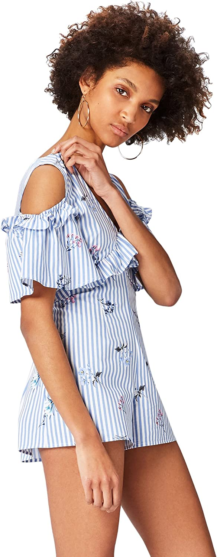 Marca Amazon - find. Vestido Camisero con Estampado de Rayas y Volantes para Mujer