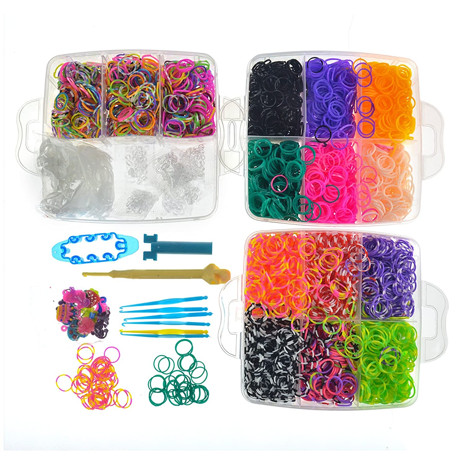 Toyofmine 4800 Colorful Rubber Band Bracelet Loom Refill Kit Fun DIY for Kids Rubber Band Activities with Storage Case