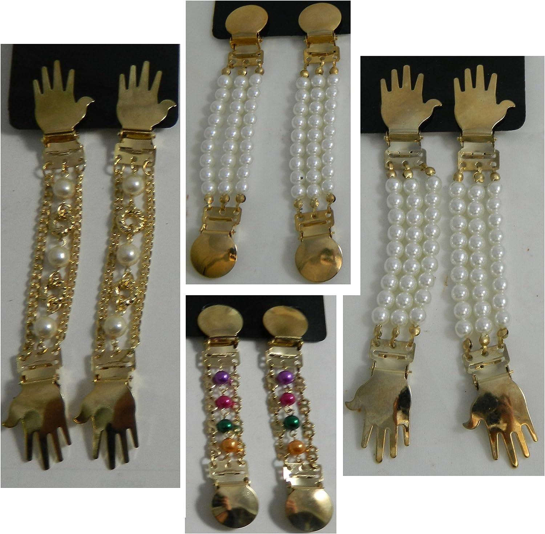 Cuatro pares sujeciones para mangas blusas camisas arremangar perlas clips plateado dorado colorido blanco