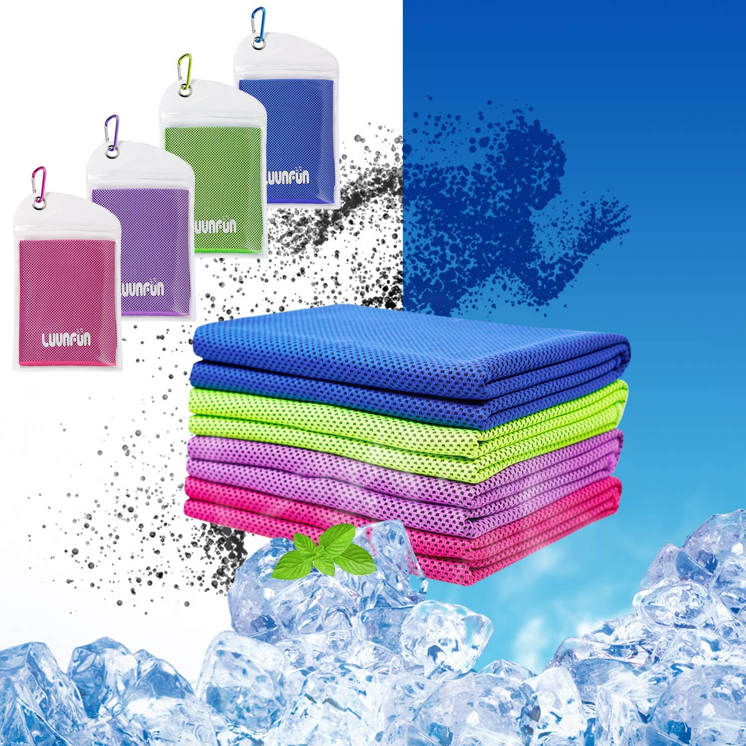 LUVNFUN 4 Pack Cooling Towels for Neck (40x12Inch) Cool Neck Warps for Summer Heat -Cold Chilly Cloth for Instant Relief- Ice Towel Ideal for Sports,Running,Gym Workout,Fitness,Yoga -UPF 50