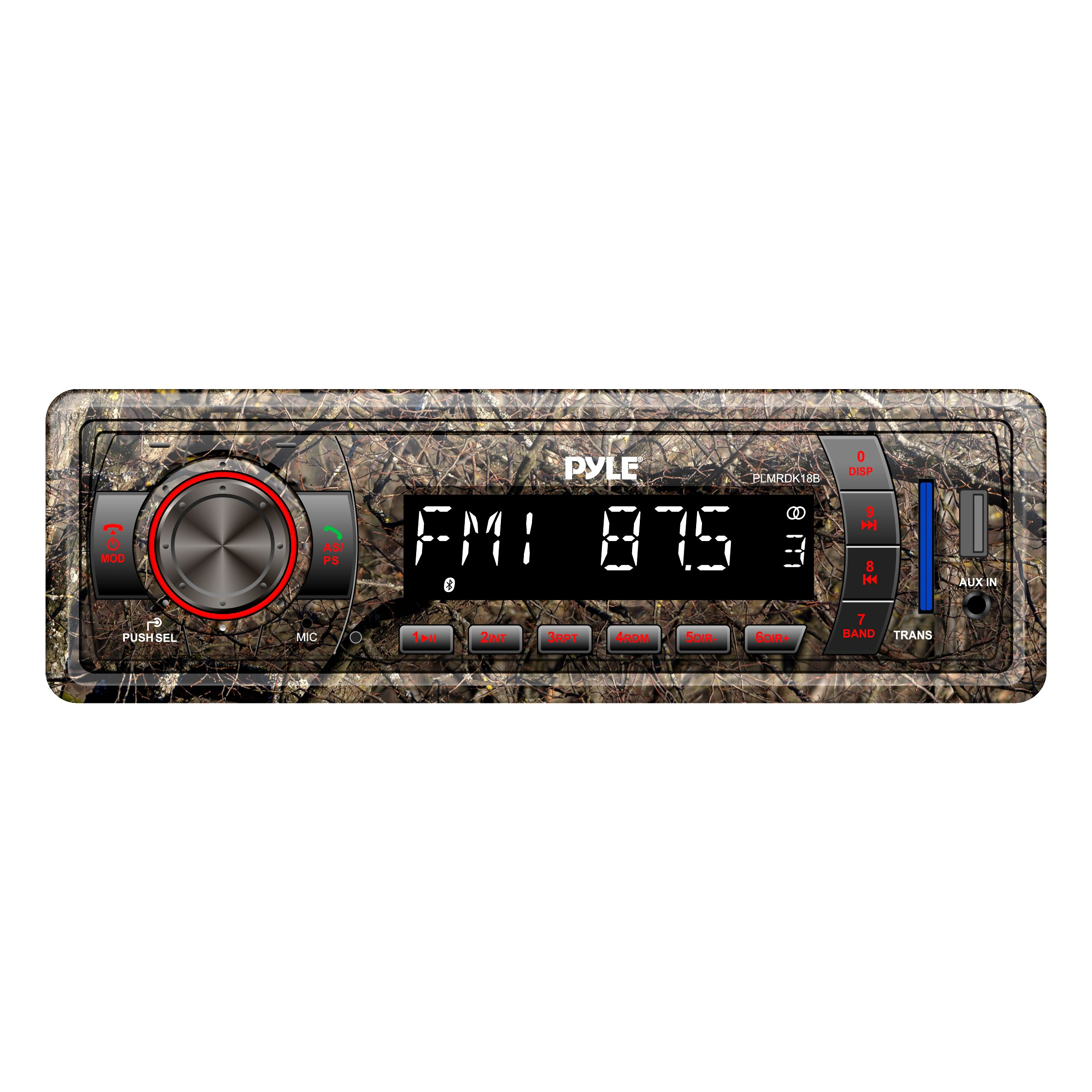 Camo Stereo Marine Headunit Receiver - 12v Camo Style Single DIN Digital Boat in Dash Radio System with Bluetooth, Built in Mic, MP3, USB, SD, AUX, AM FM Radio - Power Wiring Harness - Pyle PLMRDK18B