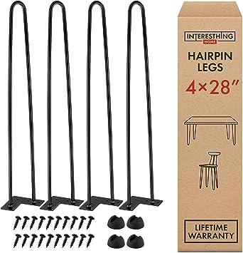 FREE Screws Floor Protectors 14-28 inch Hairpin Legs Set of 4 Legs