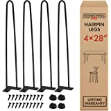 28 Inch Hairpin Legs – 4 Easy to Install Metal Legs for Furniture – Mid-Century Modern Legs for Dining and End Tables, Chairs