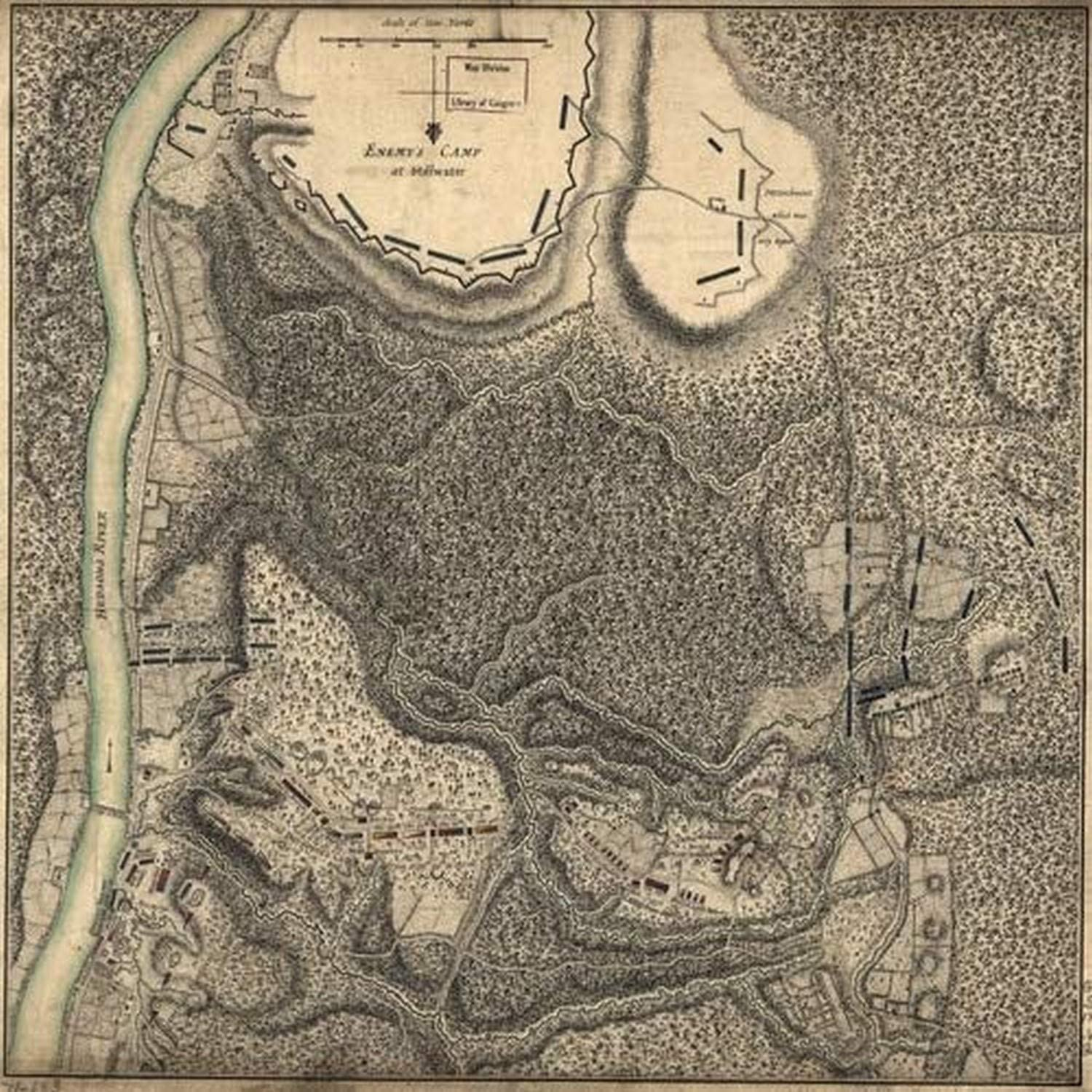 Plan of the encampment and position of the army under His Excellency Lt General Burgoyne at Bemus Heights on Hudsons River near Stillwater on the 20th September with the position of the detachment in