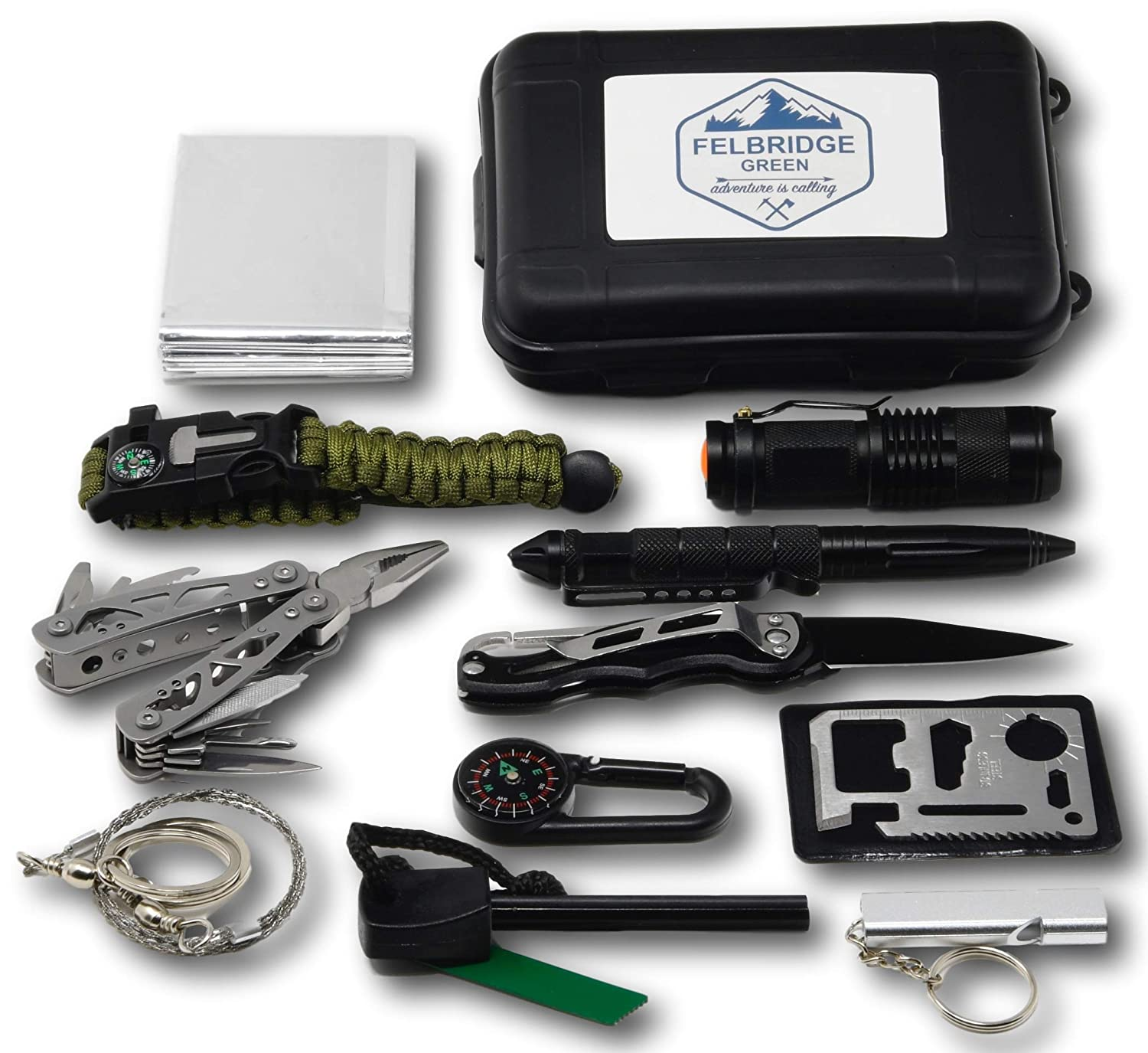 Felbridge Green Kits de Supervivencia en Emergencia con Alicates Plegables Multitool y Pulsera Paracord | para Acampar Bushcraft Militar y en Sus Aventuras al Aire Libre | Survival Kit 2.0