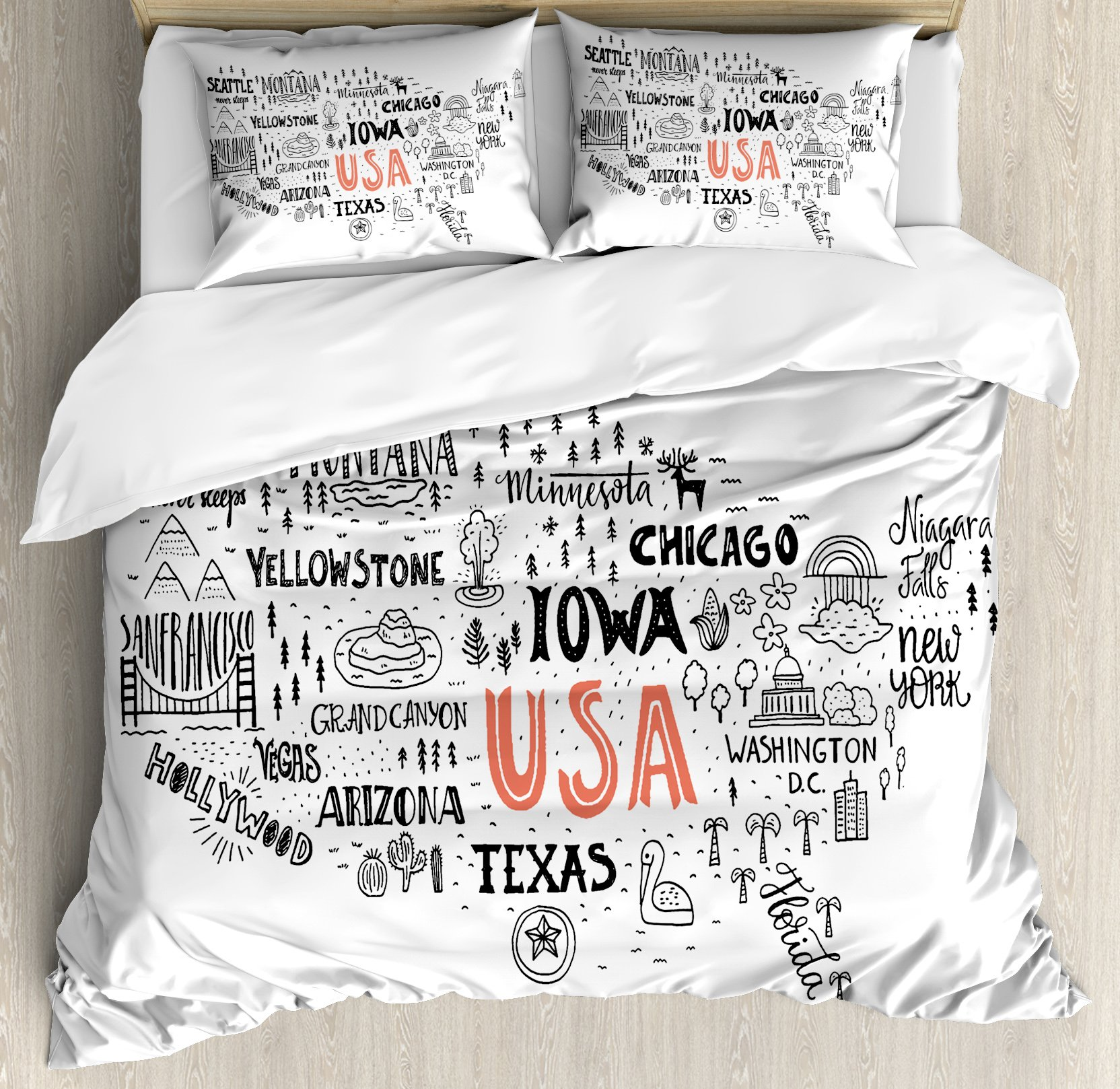 USA Map Queen Size Duvet Cover Set by Ambesonne, United States of America City Typography Pattern with Local Figures Concept, Decorative 3 Piece Bedding Set with 2 Pillow Shams, Grey Coral White by Ambesonne