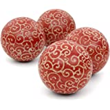 "Oriental Furniture 4"" Red and Beige Vines Porcelain Ball Set"