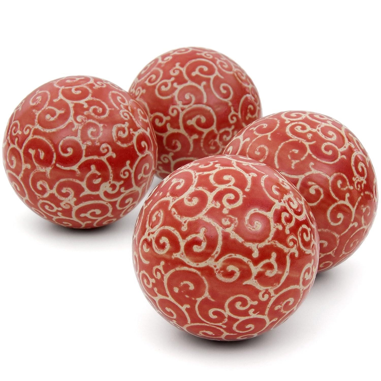 Red Beige Vines Porcelain Decorative Balls Set of 4 - ChristmasTablescapeDecor.com