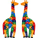 TOWO Wooden Giraffe Alphabet Blocks and Number Blocks Jigsaw Puzzle 41 cm Large Size 2 in 1 ABC Number Puzzle - Wooden Letter