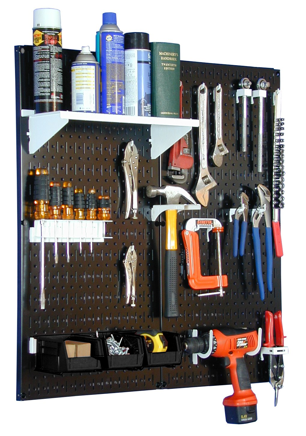 Wall Control 30-WGL-200 BW Metal Pegboard Utility Tool Storage Kit with Black Pegboard and White Accessories