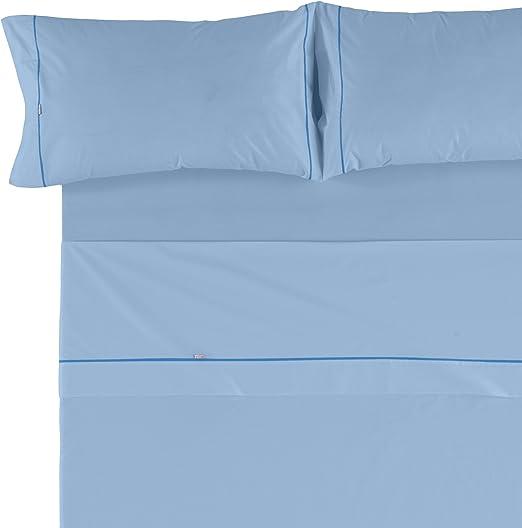 Es-Tela - Juego de sábanas liso con biés, color az. celeste, cama ...