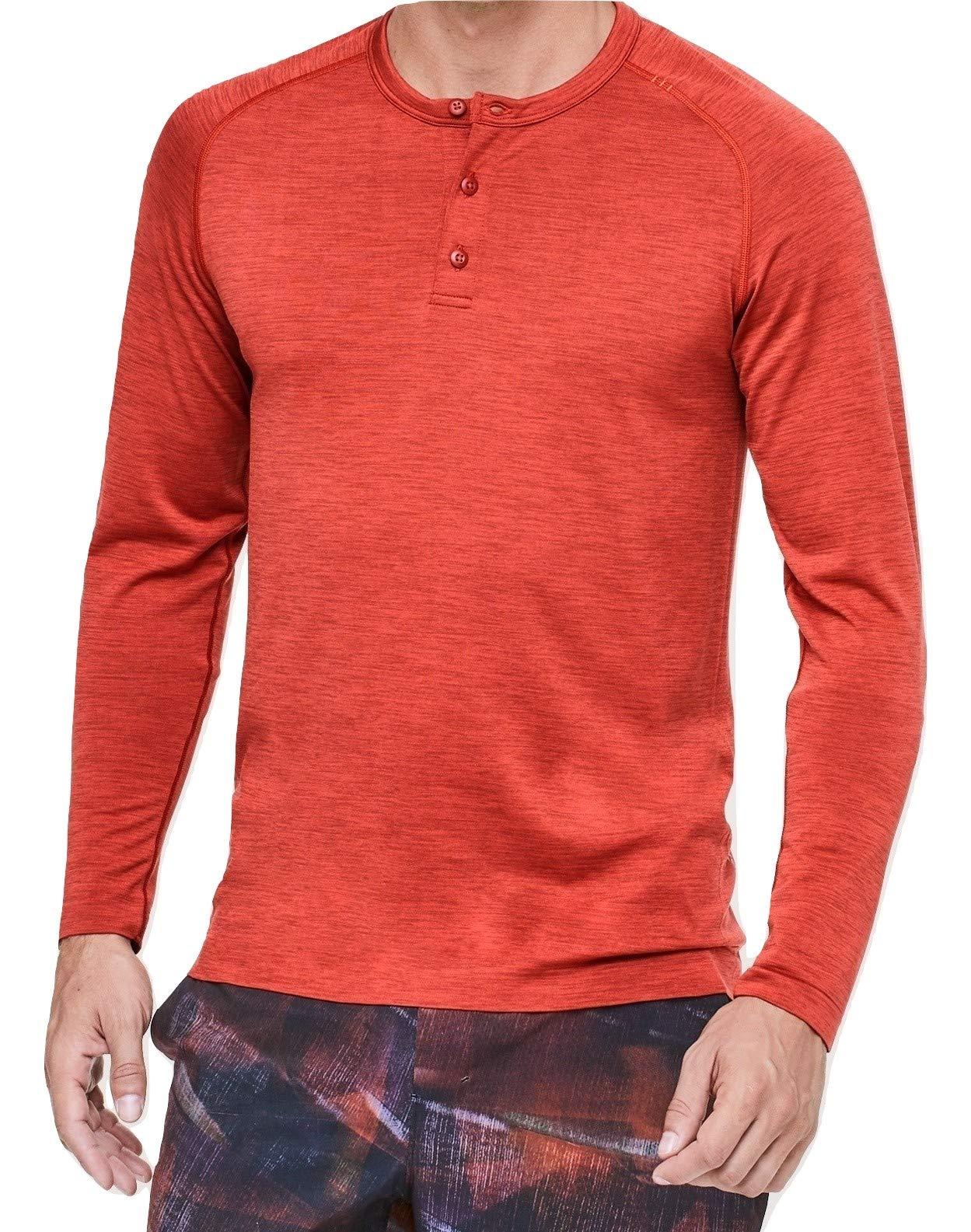 Lululemon Mens Metal Vent Tech Henley Long Sleeve Shirt (Magma Flames, S)