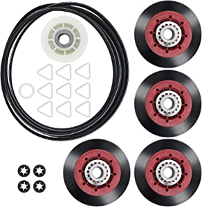 Romalon 4392067 Dryer Repair Kit Replacement Parts Compatible with Whirlpool, with 279640 Idler Pulley, 661570V drum belt, 8536974/W10314173 Drum Rollers