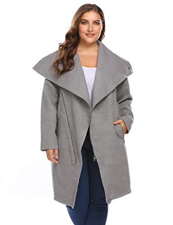 454d48f0fa7 Amazon.com  IN VOLAND Women Plus Size Winter Coat Fashion Asymmetrical Long  Wool Trench Coat Zip Up Jacket  Clothing