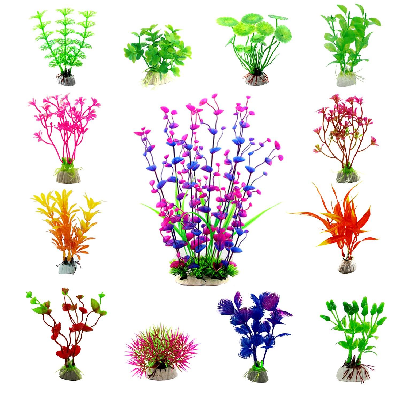 CEWOR 13pcs Artificial Aquarium Plants Plastic Water Plant Fish Tank Decorations (13 Different Styles)