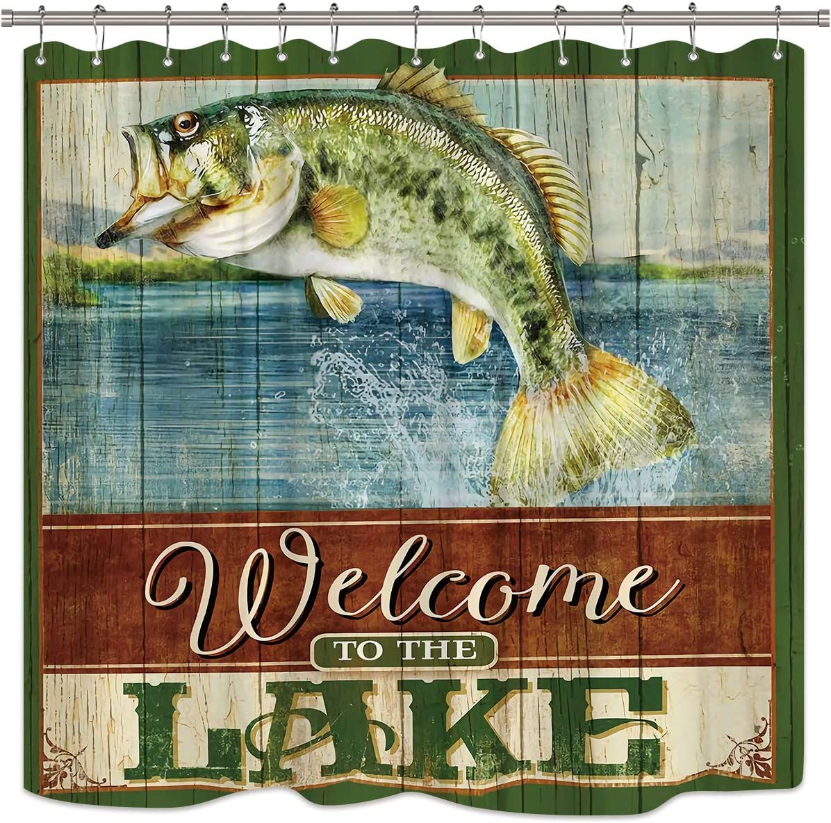 Riyidecor Fishing Shower Curtain Set Fish Lake Quotes Wooden Plank Rustic Theme Nautical Green Man Bathroom Home Decor Panel Fabric Waterproof Bathtub 12-Pack Plastic Shower Hooks 72x72 Inch