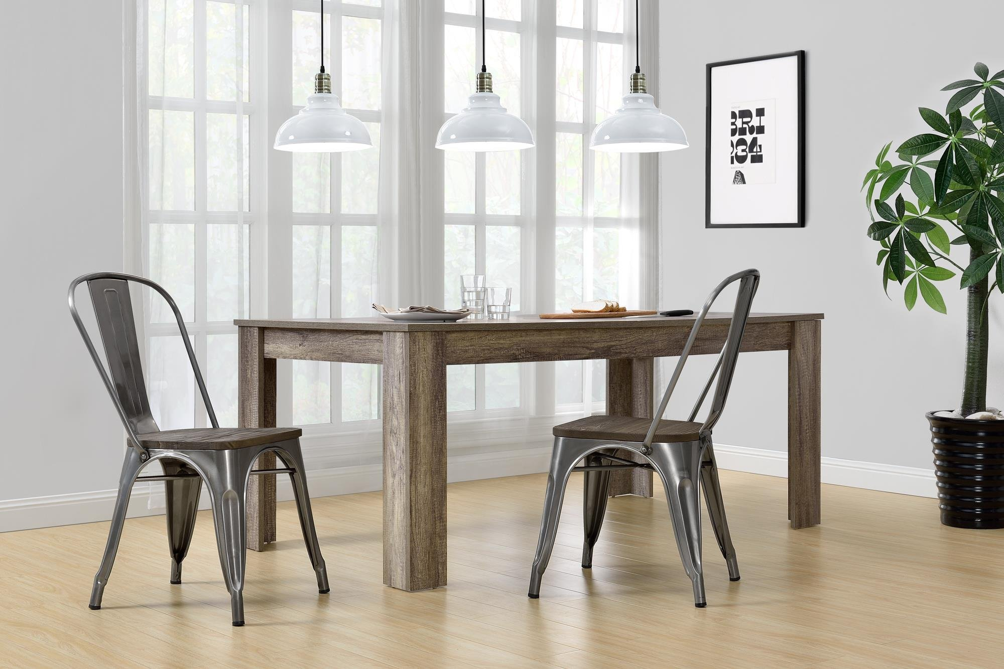 DHP Fusion Metal Dining Chair with Wood Seat, Set of two, Antique Gunmetal by DHP (Image #4)