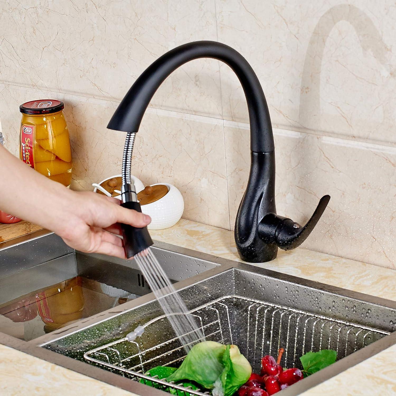 SUGU Robinet de cuisine extensible avec douchette monocommande pour /évier Noir