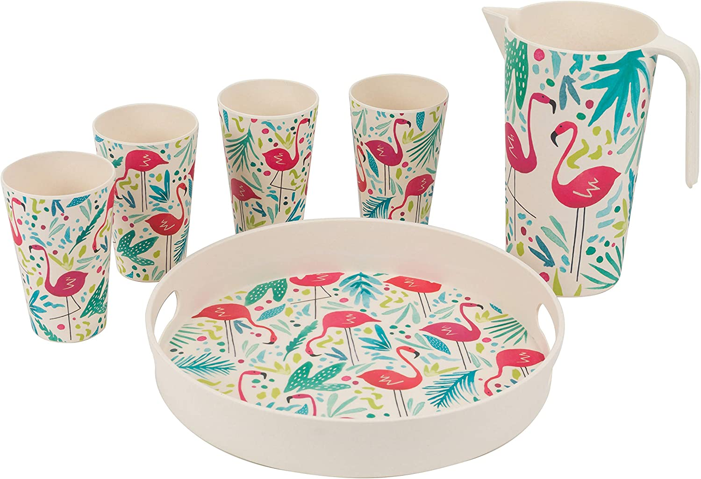 4 Place Setting CAMBRIDGE COMBO-3138 Flamingos Bamboo Eco-Friendly Tableware