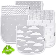 Baby Burp Cloths Set (6 Pack), Super Soft Cotton, Large 21 x10 , Thick, Soft and Absorbent Towels, Burping Rags for Newborns, Baby Shower Gift for Boys and Girls by BaeBae Goods … …