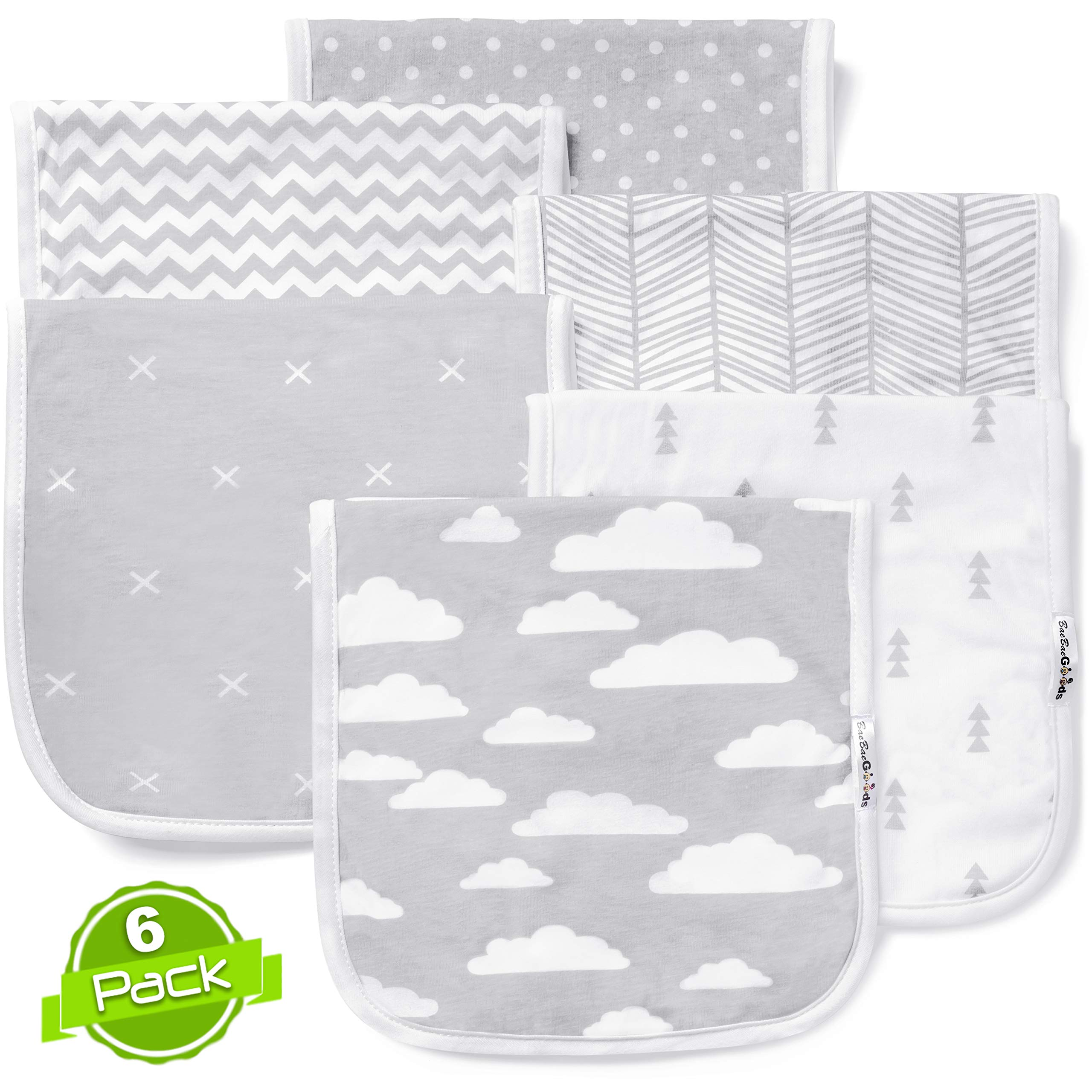 Baby Burp Cloths Set (6 Pack), Super Soft Cotton, Large 21''x10'', Thick, Soft and Absorbent Towels, Burping Rags for Newborns, Baby Shower Gift for Boys and Girls by BaeBae Goods ... ...