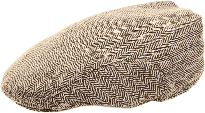 NEW MENS TWEED HERRINGBONE FLAT CAP 2 COLOURS 5 SIZES 56cm, Brown Herringbone