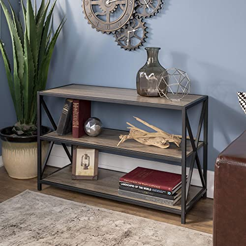 Walker Edison 2 Tier Open Shelf Industrial Wood Metal Bookcase Tall Bookshelf Home Office Storage, 40 Inch, Grey Brown