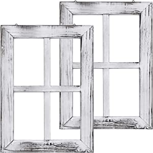 Greenco White Wooden Rustic Mount Window Frames Vintage Country Farmhouse Wall Décor-Set of 2