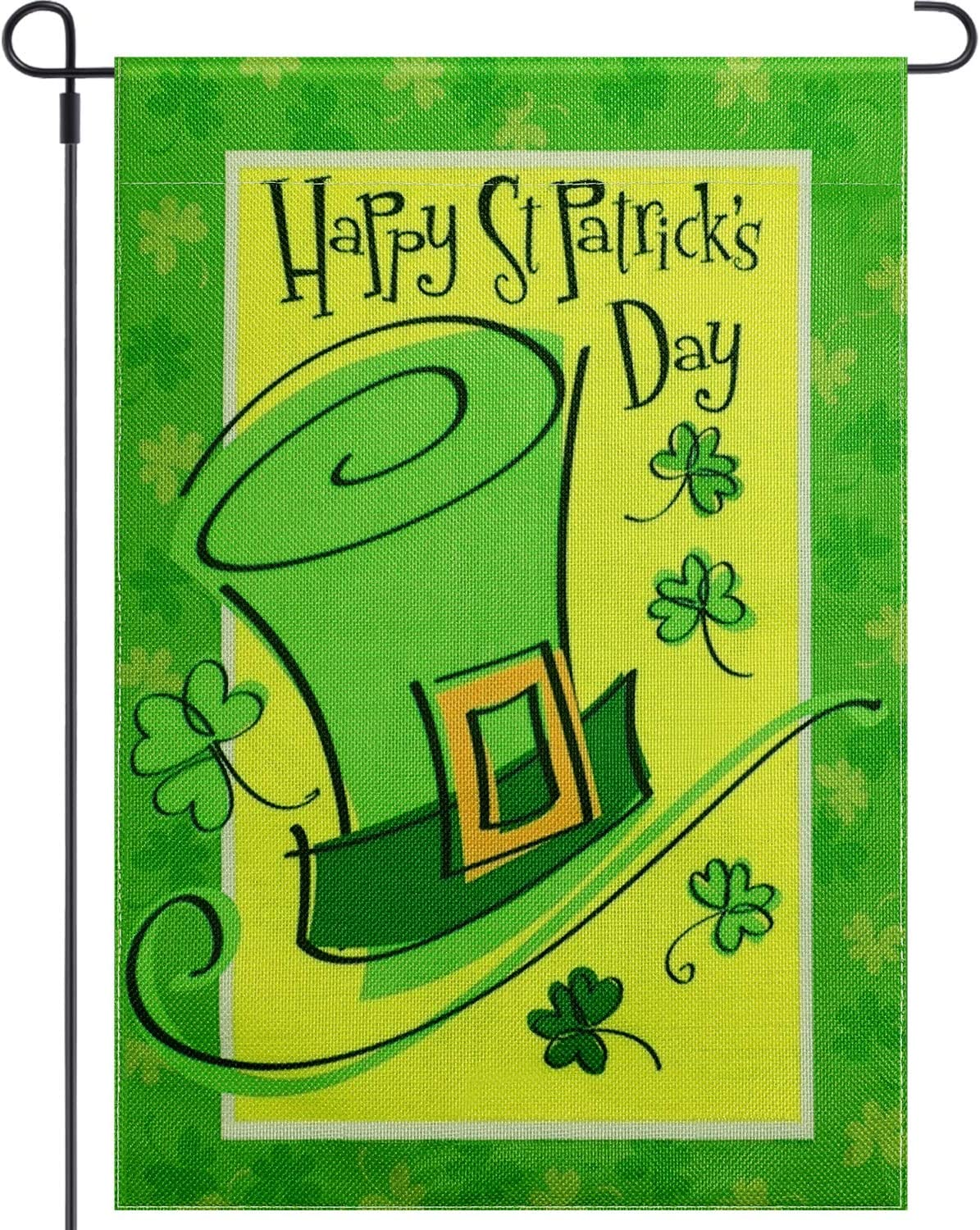 Boao St Patrick's Day Garden Flag Shamrock Double Sided Irish Shamrock Yard Flag Holiday Decorative Flag 12 x 18 Inch for St Patrick's Day Indoor Outdoor Decoration