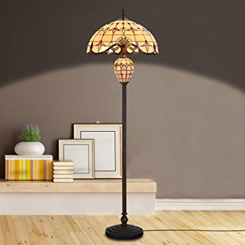 Home Decor Lighting. Cloud Mountain Tiffany Style 20 quot  Lampshade Floor Lamp Victorian Double Lit Home Decor Stained