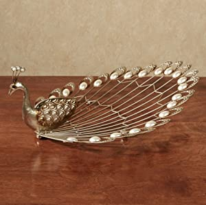 Touch of Class Peacock Sculpture Pearl Accent Tabletop Champagne Gold