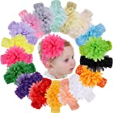 18pcs Baby Girls Headbands Chiffon Flower Soft Strecth Hair Band Hair Accessories for Baby Girls Newborns Infants Toddlers and Kids (Color: 18pcs flower headbands, Tamaño: 4 inches)