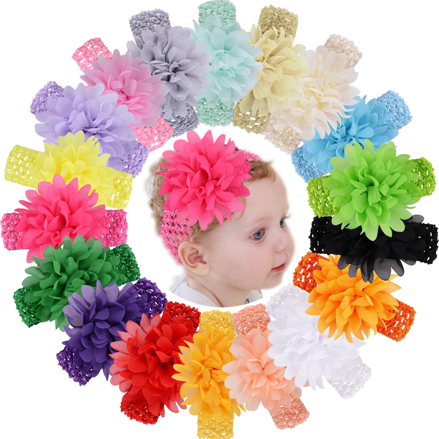 18pcs Baby Girls Headbands Chiffon Flower Soft Strecth Hair Band Hair Accessories for Baby Girls Newborns Infants Toddlers and Kids WillingT
