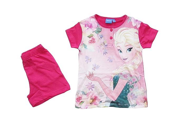 08679050ebb393 Disney Pigiama Bambina Estivo Elsa Frozen, a Maniche Corte in Cotone -  46321: Amazon.it: Abbigliamento