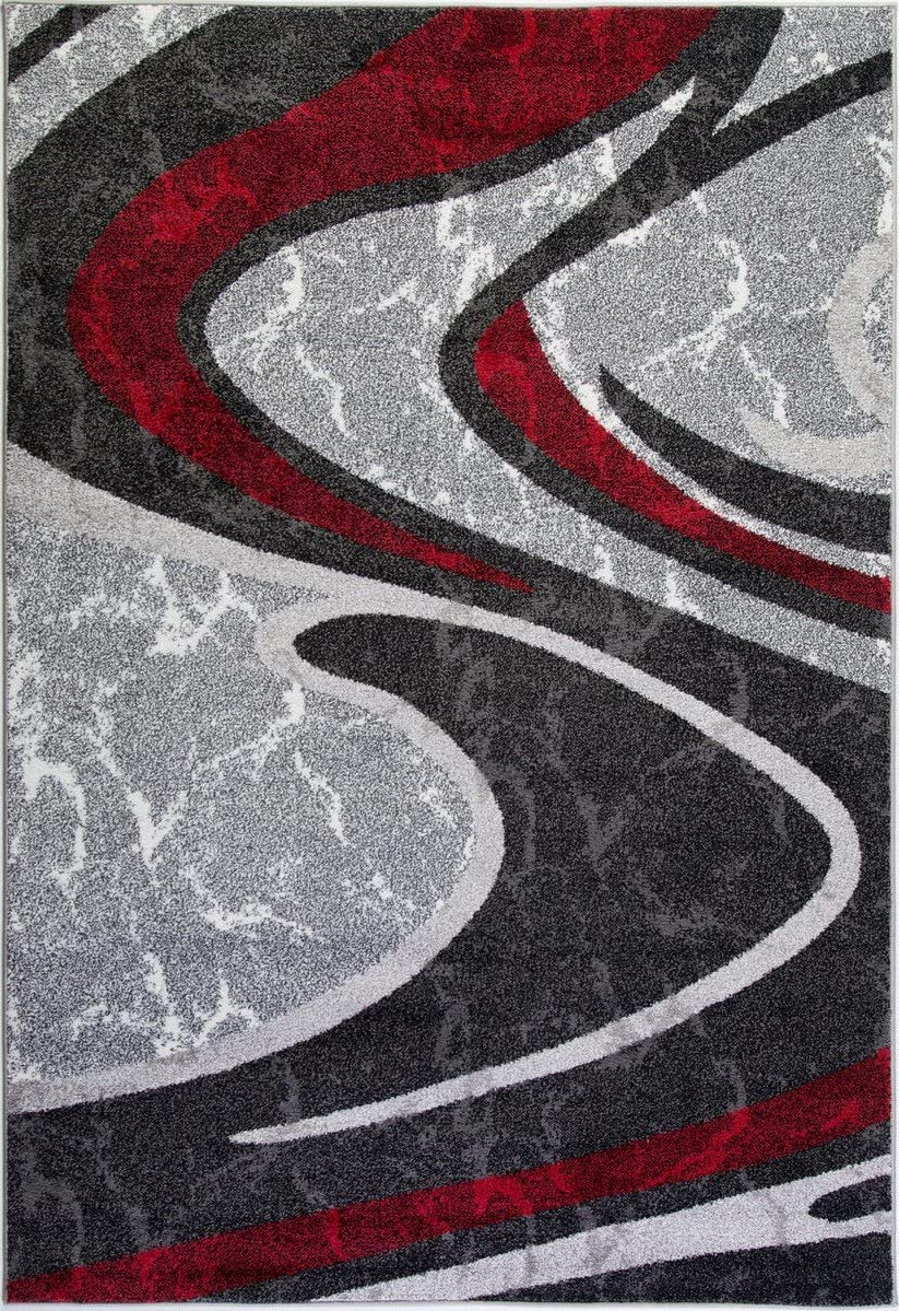 Healthyhomeflooring Turkish Silky Spirals Boston Collection Abstract Pattern Indoor Area Rug Carpet in Red Grey Black, 8×11 7 10 x 10 5 , 240cm x 320cm