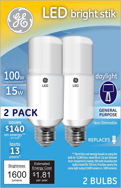 GE Lighting 63869 LED Brightstik 15-watt (100-watt Replacement), 1600-Lumen Light Bulb with Medium Base, Daylight, 2-Pack