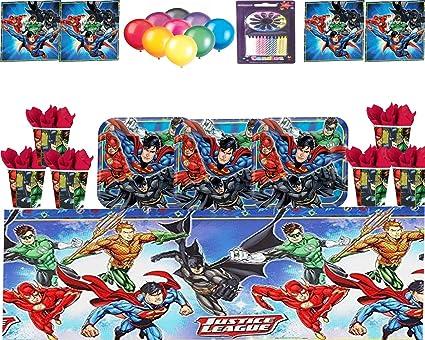 Justice League Party DC Suministros Niños Fiesta de cumpleaños Vajilla Platos Tazas Servilletas Mantel con Paquete de Globos Gratis y Velas para 16 ...
