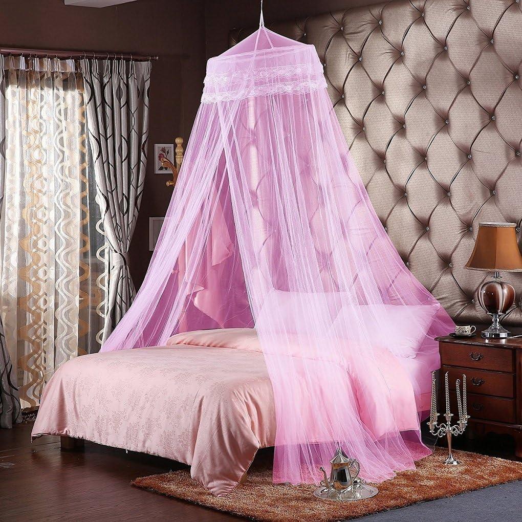 Unimall Mosquitera para Cama Matrimonio Anti mosquitos para el Hogar o de Vacaciones con Cuatro Esquina Post Cama Princesa Dosel Mosquitera con Apertura Grande(malla densa) (Rosa)