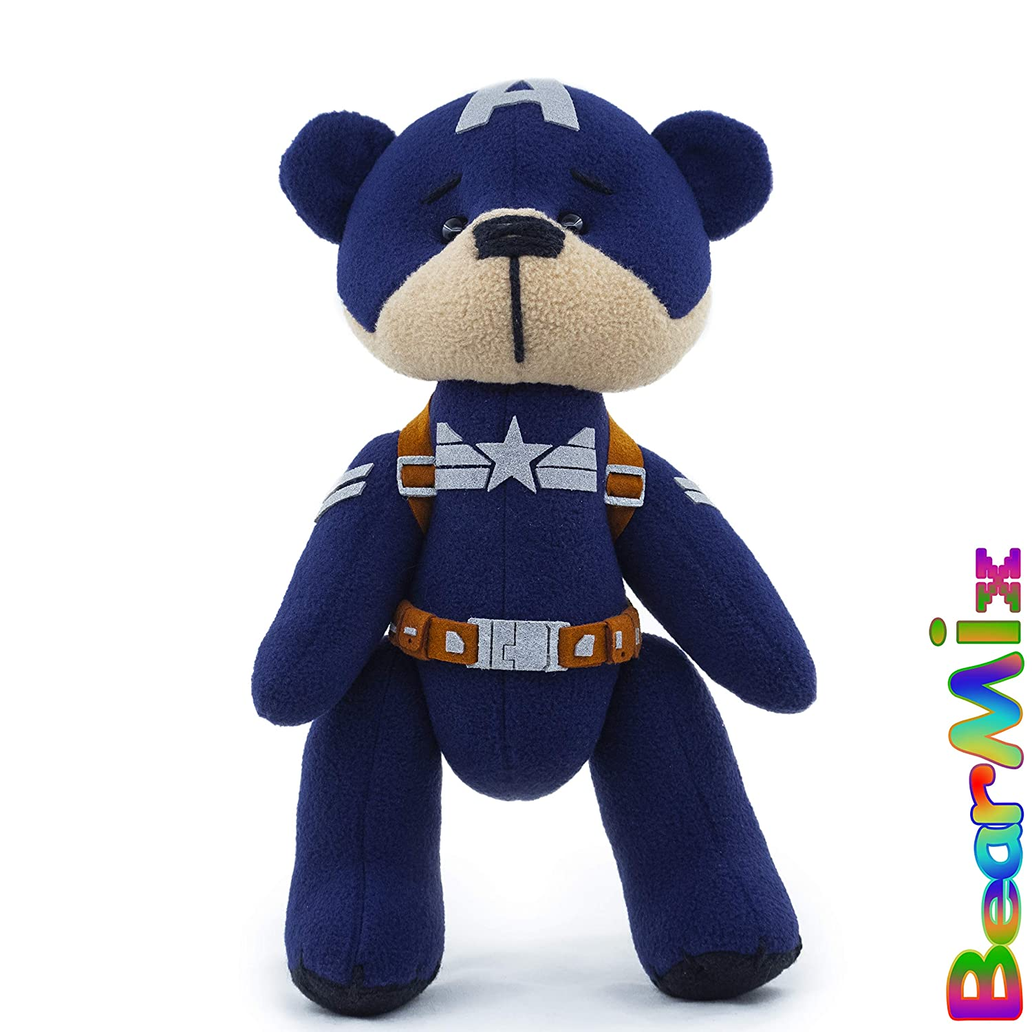 Captain America bear Stealth suit marvel superhero movie comic plush toy avengers steve rogers