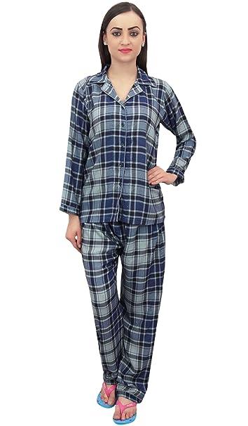 Bimba Navy Blue Check Print Camisa para Mujer con Pantalones De Pijama 2 Piezas Nightwear -