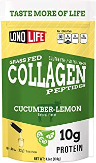 product image for LonoLife Cucumber Lemon Collagen Peptides with 10g Protein, Paleo and Keto Friendly, Stick Packs, 10 Count