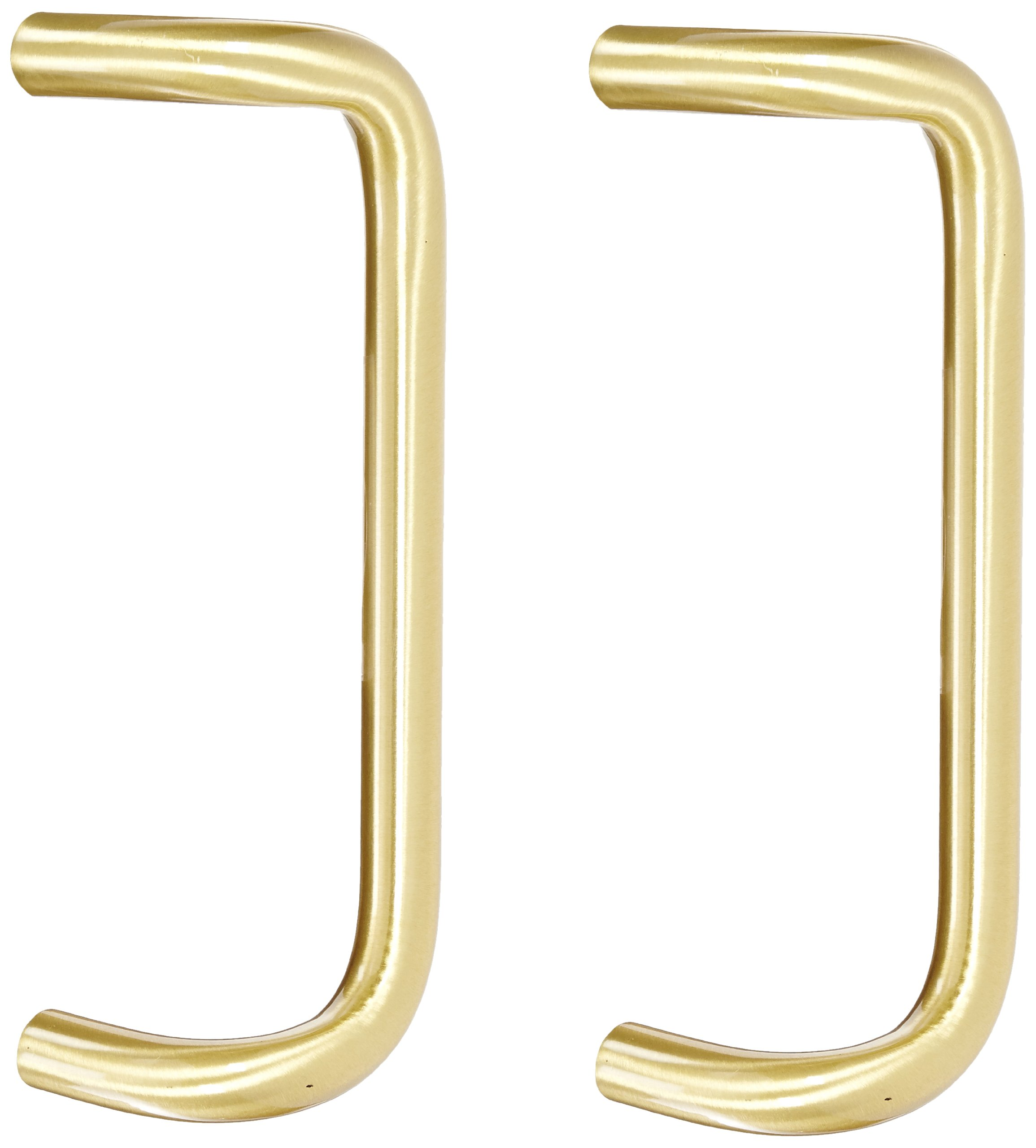 Rockwood BF158BTB16.4 Brass 90-Degree Offset Door Pull, 1'' Diameter x 12'' Center-to-Center, Back To Back Mounting for 1-3/4'' Door, Satin Clear Coated Finish
