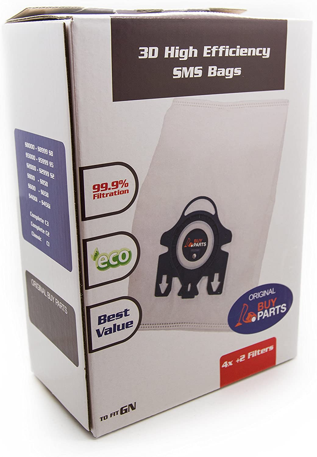 Miele AirClean 3D Efficiency Dust Bag, Type GN, 4 Bags & 2 Filters by buyparts
