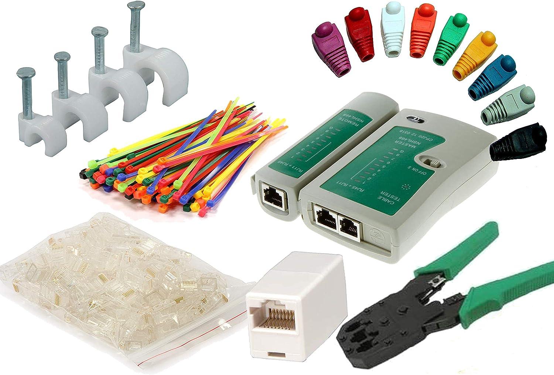 MutecPower Kit Herramientas de Cable de Red. Probador de Cable + alicates + 50 Conectores RJ45 + Pelacables.