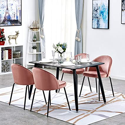Black Dining Table And 4 Rose Pink Velvet Chairs Mid Century Retro Design High End Kitchen Living Room Store Shop Restaurant Layout Accent Furniture