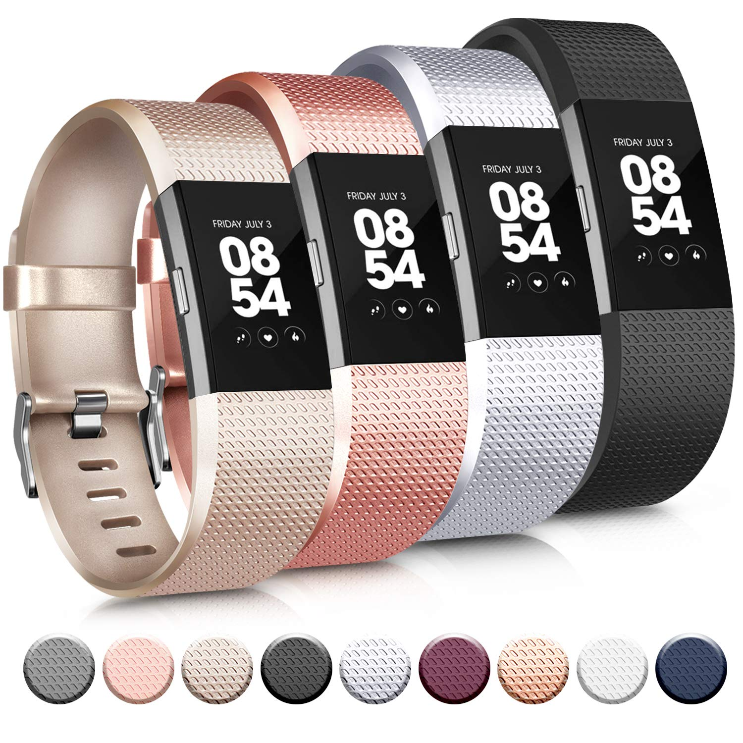 4 Mallas Small para Fitbit Charge 2 Oro / Champán / Negro