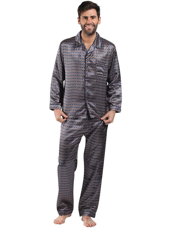 da uomo abbigliamento da notte// Biancheria da Notte Satin manica lunga stampata pigiama set vari colori e dimensioni uomo