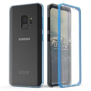 Urcover® Funda Compatible con Samsung Galaxy S9, Carcasa Mejorada Cover 360 Grados, edicion Dura, Carga inalámbrica Qi, Case Transparente - Azul