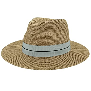 592603a2a59 CHIC DIARY Straw Panama Hat Wide Brim Fedora Summer Sun Hat for Women Men  (Dark Khaki)  Amazon.co.uk  Clothing